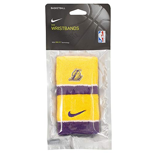 NIKE NBA Wristbands-La Lakers Muñequera, Unisex Adulto, yelpur, Talla Única
