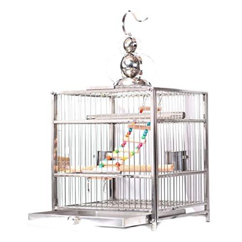 JKXWX Gabbia per Uccelli Tetto Quadrato Gabbia for Uccelli in Acciaio Inossidabile Allevamento Gabbia for Il Bagno Forniture for Animali Gabbia Voliera (Color : Upgraded Version, Size : M)