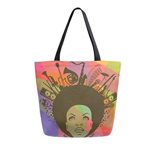 Mnsruu Einkaufstasche Afrikanische Amerikanische Küche Wiederverwendbare Lebensmitteltaschen Canvas Tote Bag für Outdoor
