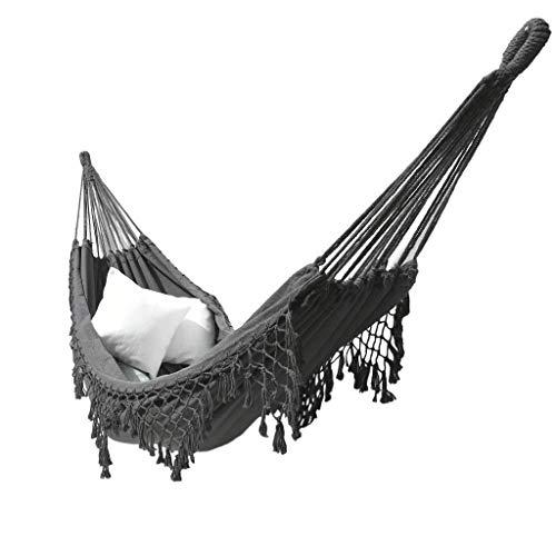 YiRan Hamaca de Camping con borlas brasileñas con Flecos Crochet algodón Lino Doble Extra Grande Exterior Interior jardín (Gris)