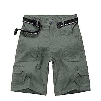 Jessie Kidden Women's Stretch Hiking Shorts, Outdoor Quick Dry Elastic Waist Casual Above Knee Cargo Pants (2133 Grey, 30 (US 8))