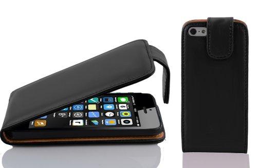 Cadorabo Funda para Apple iPhone 5C in Negro DE Caviar - Cubierta Proteccíon Estilo Flip de Cuero Sintético Liso - Etui Case Cover Carcasa