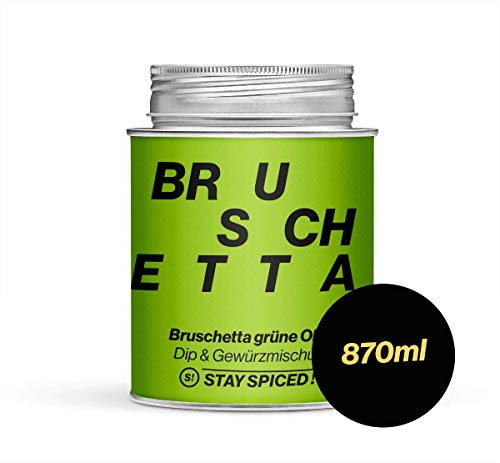Bruschetta grüne Olive von STAY SPICED ! Mediterrane Gewürzmischung I Verpackt in 870 ml Weißblechdose
