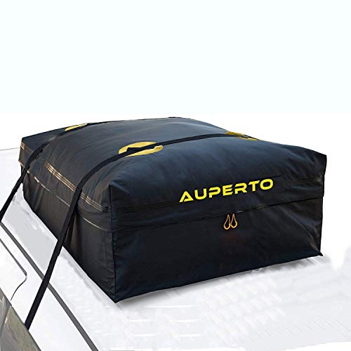AUPERTO Rooftop Cargo Carrier Bag - 15 Cubic Feet Soft Car Roof Bag with 2 Heavy Duty Adjustable Straps Fits All Cars