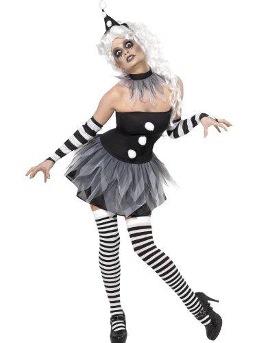 Smiffy's Smiffys-Halloween Disfraz de pierrot siniestro, con vestido, adornos para el cuello y los brazos y, color negro, S-EU Tamao 36-38 34226S