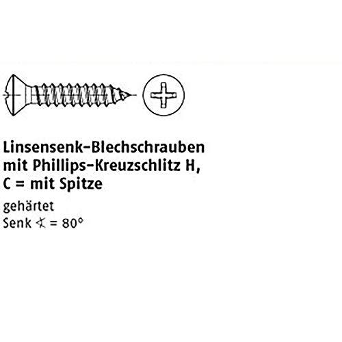 Linsensenk-Blechschr. DIN 7983 Stahl 3,9 x 9,5 -C-H galv. verzinkt passiviert gal Zn VE=K 100 Stück