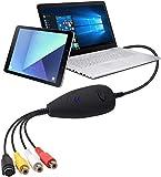 DGODRT Grabador de vídeo USB, convertidor de audio y vídeo Hi8 VHS VCR a DVD, tarjeta de captura de vídeo para Windows 10/8/7/Vista/XP