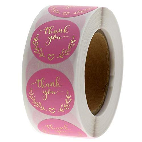 Yuanshenortey 500pcs/roll Thank You Stickers Round Pink Danke Aufkleber Goldfolie Klebstoff Aufkleber Für Boutiquen,Thanksgiving