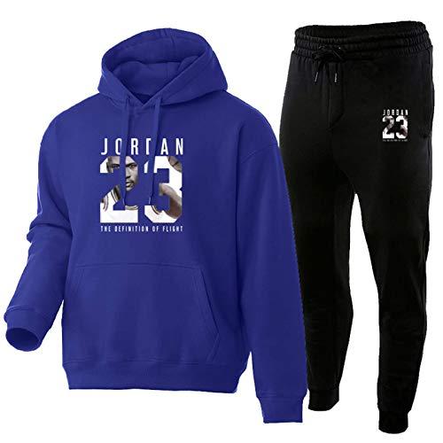 Chándal 2021 Fashion JordäN 23# para hombre, ropa deportiva de dos piezas, conjuntos, sudadera y pantalones, traje de deporte para hombre, azul real, XL