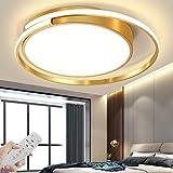 LED Deckenleuchte Ultra-dünnen Pendelleuchten Decken Beleuchtung Dimmbar Deckenlamp Modern Wohnzimmer Lampe Kronleuchter Esszimmer Schlafzimmer Deckenlicht Küche Restaurant Flur Licht (Golden,52CM)