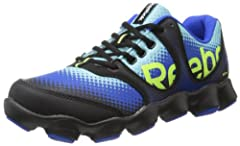 Trail-running shoe with synthetic upper featuring IMEVA midsole, tri-phased stability weld, and outsole with 19 lugs