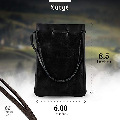 Leather Drawstring Pouch, Coin Bag, Medicine Tobacco Pouch, Medieval Reenactment, Made in U.S.A. by Nabob Leather (Large, Black)