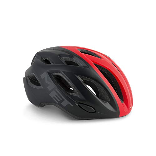 Met Casco IDOLO M(52-59) Ciclismo, Adultos Unisex, Multicolor (Negro Rojo)