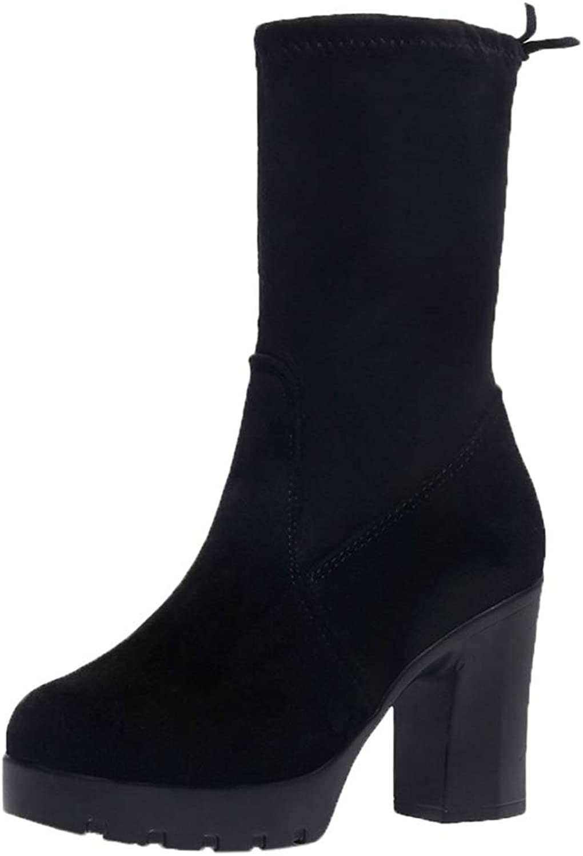 Zarbrina Womens Wedge Platform Calf Boots Chunky Heel Slip On Rubber Sole Solid Short Plush Winter Warm shoes