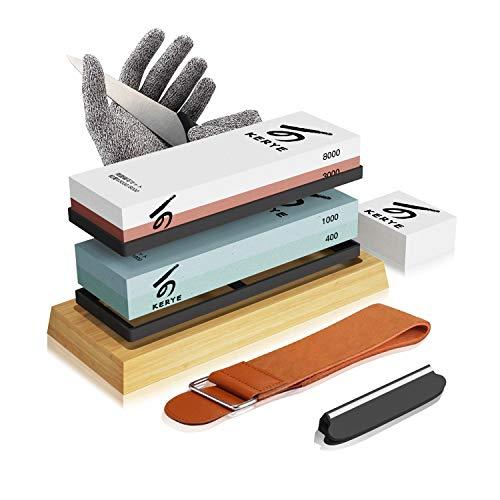 Knife Sharpening Stone Kit, KERYE Professional Japanese Whetstone Sharpener Stone Set, Premium 4...