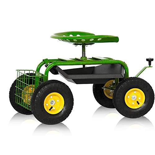 Aufun Rollsitz Garten Gartensitz bis 150 kg Gartenkarre Höhenverstellbar 5-8 cm Transportwagen mit Großer Aufblasbarer Gummireifen Kippwagen für Geräte, Garden - Typ A3, mit einem Korb