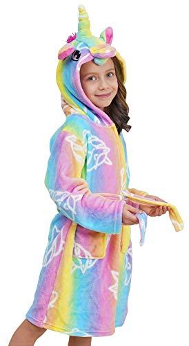 Doctor Unicorn Soft Hooded Bathrobe with Unicorns - Unicorn Gifts for Girls (Rainbow, 6Years)