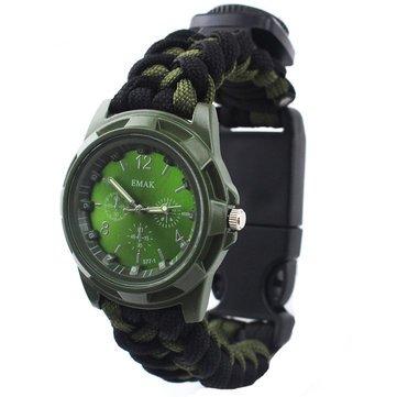 Herramienta de camping y senderismo EDC y kit de emergencia – IPRee 4 en 1 supervivencia brújula reloj de pulsera de nylon paracord pulsera - verde negro -