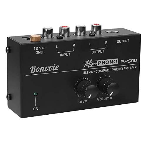 Bonvvie PP500 Preamplificatore fono ultracompatto audio per giradischi e mixer DJ, manopole di controllo del livello e del Volume/Ingresso e Uscita RCA 1/4 Pollici TRS Interfacce di Uscita