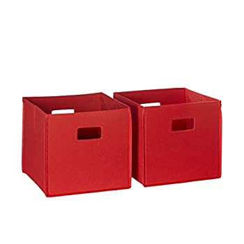 RiverRidge 2 Pc Folding Storage Set-Red Fabric Bins