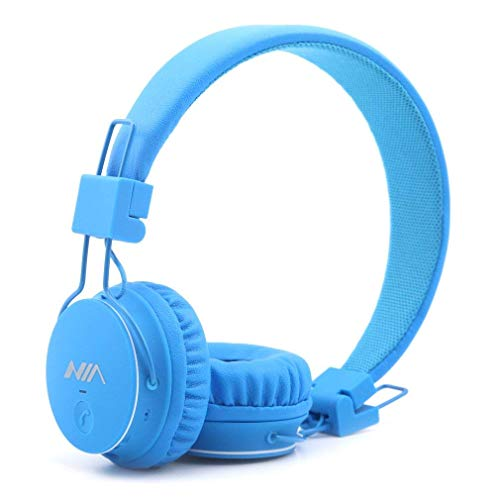 Q8 Multifunctional Foldable Wireless Headphones with Microphone, Micro SD Card Player and Built-in FM Radio -Blue