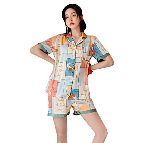 Yujeet Conjunto de Pijamas de Mujer Bolsillos con Botones de Manga Corta Ropa de Sala de Estar Suave, Camisa Pantalon (Estilo#1, Asia L)