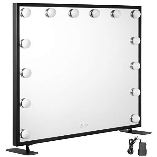 VEVOR Vanity Led Schminkspiegel 600 * 500mm kosmetikspiegel Beleuchtet mit 14 Stück Dimmbaren LED-Lampen Schminkspiegel für Tisch Kosmetik(Schwarz)