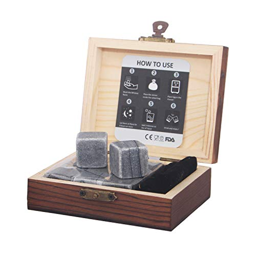 Whiskey Stones Gift Set Pack of 9 Whiskey Rocks in Engraved Wooden Gift Box, Christmas Gifts for Dad/Whisky/Bourbon Drinker, Men/Women Birthday Present, Father Day Gift - Barleo