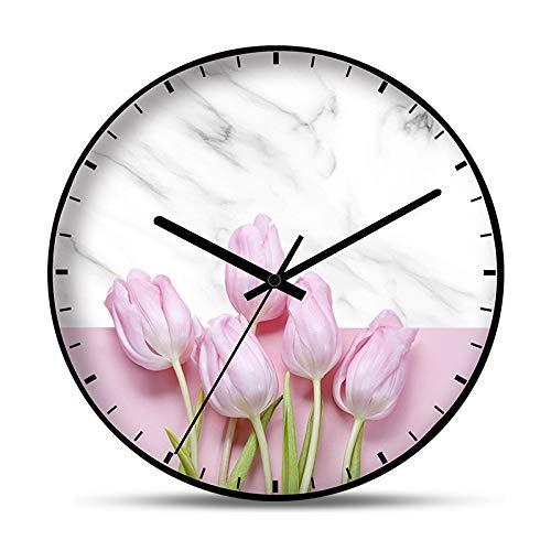KCOLC Vintage Wanduhr Zimmeruhr Rosa Blumen Wanduhr Dekoration Dame Geschenk Wanduhr Stille Uhr Runde 12 Zoll