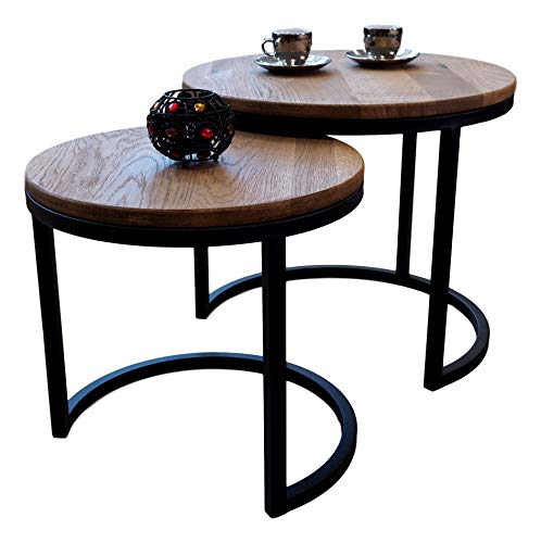 Lumarc Modena Set aus 2 Couchtischen und Beistelltischen aus massivem Eichenholz Natur im modernen Industrie-Design, minimalistisch, Eiche, rund, D50/40 x 43/38 cm
