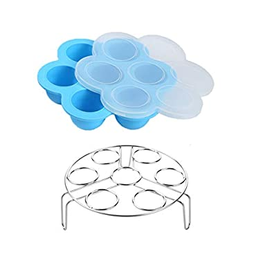 Egg Bites Molds for Instant Pot Accessories by ULEE - Fits Instant Pot 5/6/8 qt Pressure Cooker, Both the Tray and Lid Made of Silicone, Stainless Steel Egg Steam Rack Included (Blue)