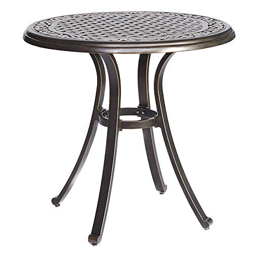 dali Bistro Table, Square Cast Aluminum Round Outdoor Patio Dining Table 28' Dia x 28.6' Height