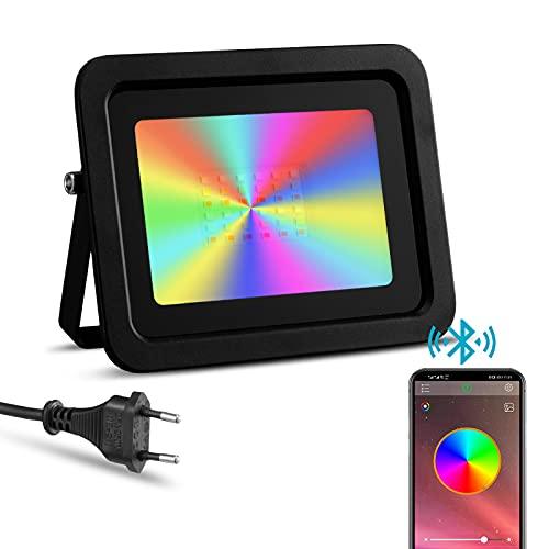 Faretto LED RGBW Esterno 50W Controllato Smartphone,...