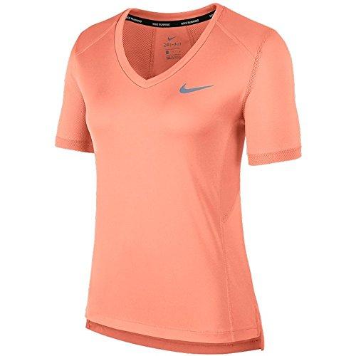 Nike W Nk Dry Miler Top Vneck - crimson pulse, Größe:M