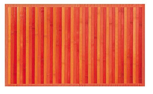 OLIVO.Shop | Bamboo Tappeto Bordato in bambù con Fondo Antiscivolo Vari Colori E Misure (Arancio, 50X130)