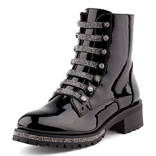 Fusskleidung Damen Stiefeletten Schlupf Stiefel Biker Boots Worker Combat Strass Schuhe Lack Schwarz EU 40