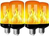 Bombillas de llama, 4 Modo de luz Regulable Filamento LED, E27 Vidrio Matte Luces Decoración para Hogar, Jardín, Restaurantes, Fiesta(4 piezas)