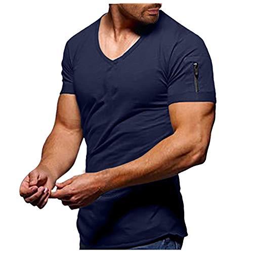 Camiseta de manga corta para hombre de verano, cuello en V, ajustada, transpirable, moderna, básica, de manga corta, para fitness, jersey básico A_Marine L