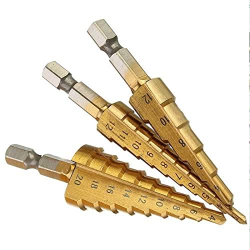 3-12mm / 13mm 4-12/20 / 32mm HEX Shank HSS titanio recubierto titanio Tallado Power Power Herramientas de alimentación de carburo Mini Bit Bit Set (Size : 4 22mm)