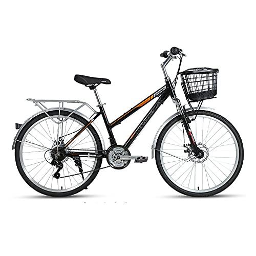 Bicicleta, Bicicleta de Viaje de Moda Retro, Bicicleta de Ocio de 26 Pulgadas Y 21 Velocidades, Marco de AleacióN de Aluminio de Bajo Alcance, Asiento Ajustable, para Adultos/A / 169x98cm