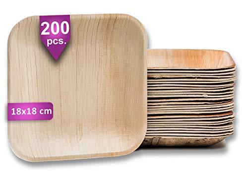 Waipur Platos Hoja de Palma Orgánicos – 200 Platos Desechables Cuadrados 18x18 cm - Vajilla Ecológica de Lujo, Estable, Natural y Biodegradable - Platos de Fiesta – como Platos de Bambú
