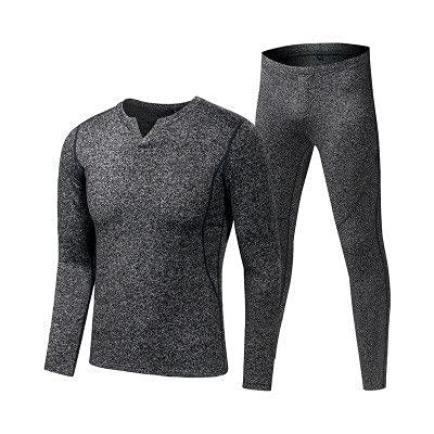 GELTDN Fleece Long Sports Thermal Underwear Sets Autumn Winter Thickening V-Neck Men Warm Suit (Color : B, Size : L Code)