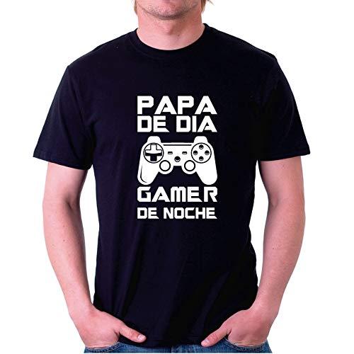 Custom Vinyl Camiseta Dia del Padre papá de Dia Games de Noche (Negra, L)