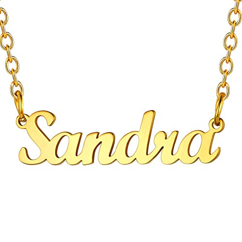 U7 Collares Letrero de Identidad Sandra Oro 18k Cadena Fina 45cm Ajustable Acero Inoxidable Regalo Hombre Mujer