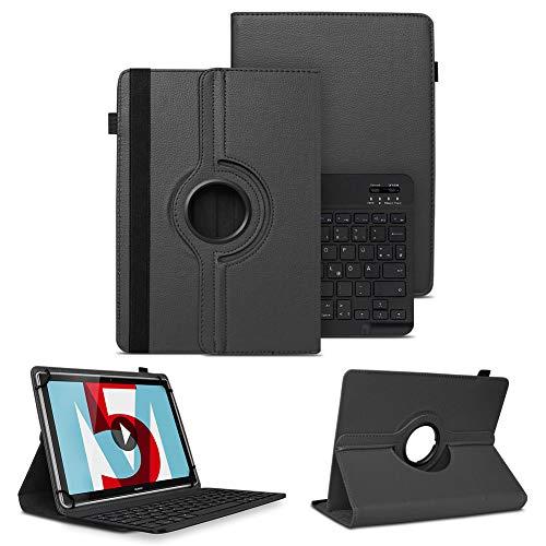 NAUC Schutzhülle kompatibel für Huawei MediaPad M5 Lite Tasche Tablet Schutz Hülle Kunstleder Bluetooth Tastatur QWERTZ 360 Drehbar Cover Hülle in Schwarz