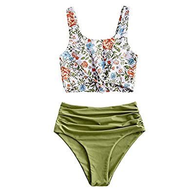 ZAFUL Women's Knotted Front Tankini Set High Waisted Bikini Scoop Neck Swimsuit Two Pieces Bathing Suit (Plant Print-Green, S)