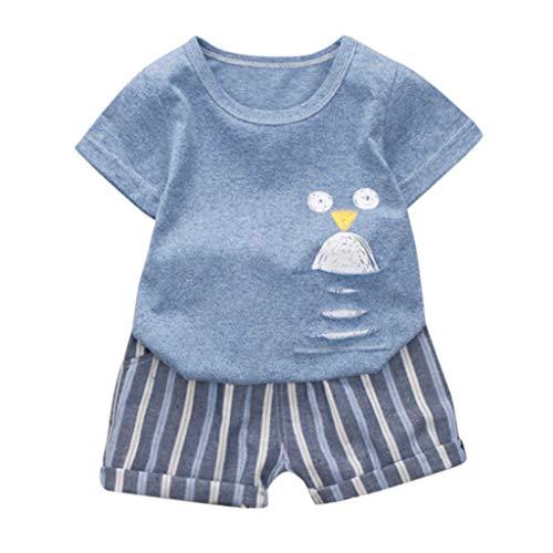 LEXUPE Säugling Baby Jungen Mädchen Kurzarm Cartoon Print Tops + Stripe Short Outfit(Blau-A,80)