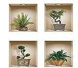 mural 4 PC pegar vinilo 3D pegatinas de pared extraíbles calcomanías para salpicaduras adhesivas de bricolaje, bonsais verdes y plantas