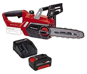 Einhell 4501761 Motosierra GE-LC 18 li (sin Bateria) Velocidad de Corte 4.3 m/s, 0 W, 0 V, Rojo + 4512042 Kit con Cargador y batería de repuest, tiempo de carga: 60 Minutos