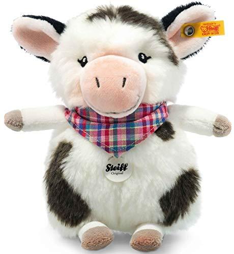 Steiff Happy Farm Mini Cowaloo Kuh - 18 cm - Kuscheltier für Kinder - Plüschkuh - weich & waschbar - weiß/schwarz gefleckt - (103049)